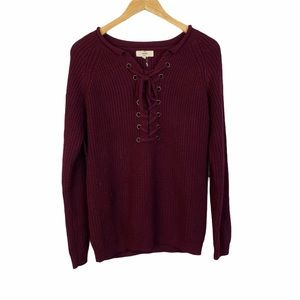 Entro burgundy lace up sweater
